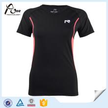 Nylon Elastane Women Running Wear with Short Sleeve