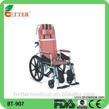 Cadeira de rodas reclinável reclinável em cadeira de rodas em alumínio leve