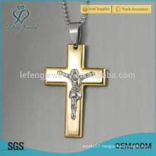 High quality stainless steel 18k gold antique cross pendant jewelry
