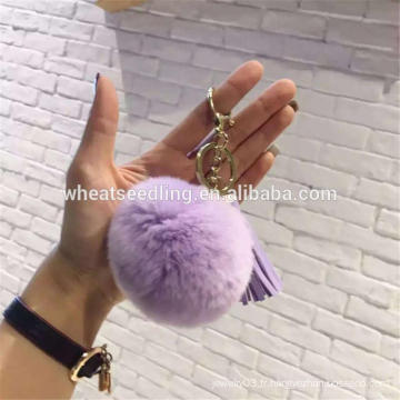 2016craft populaire en cuir pompon pompom fourrure pom pom keychain