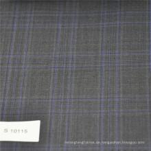 Grauer und blauer karierter Stoff Wollpolyester Mischgewebe Tweed Stoff für Anzug Herren