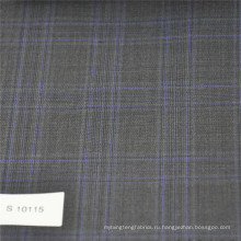 Серый и синий клетчатая ткань шерсть полиэстер смесь ткань твид ткань для костюма мужские