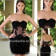 Balck Short Mini avestruz Cabelo Feather Coluna Lace Sequin Homecoming Vestido Graduação Vestido