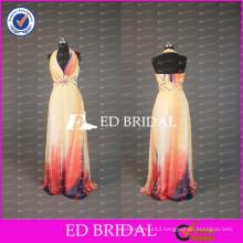 ED Elegant A Line Halter Neck Low Back Floor Length Long Printed Chiffon Prom Dresses 2017