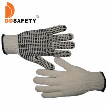Natural White Cotton /Polyester Knit Knitted Garden Work Gloves with Black PVC Dots, Gripper DOT Gloves