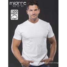 Miorre OEM Venta al por mayor Hombres manga corta de cuello en V Classic Blanco Camiseta de algodón% 100