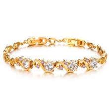 Oro de 18k sobre Plata Cúbico Zirconia Diamante Cristal Pulseras y brazaletes