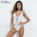 Frauen Sexy Deep V Neck Backless Bodysuit