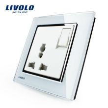 Commutateur à bouton-poussoir Livolo 1 voie 1 voie 3 broches multifonction 13A prise de courant VL-W2Z1C-12