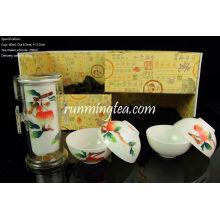 Jingdezhen Lychee Mano-pintura Fácil Tea-maker y cuatro tazas, en un sistema de la caja de regalo