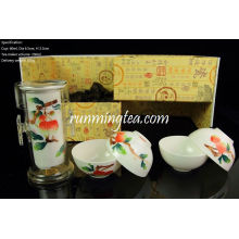 Jingdezhen Lychee Hand-painting Easy Tea-maker & Four Cups, dans un coffret cadeau