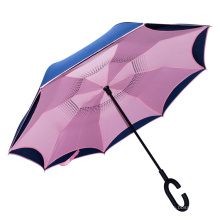 Pongee Fabric Rainproof magicbrella c- shaped handle reverse folding umbrella
