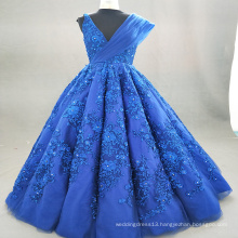ED Bridal Hot Sale Beautiful Crystal Lace Appliqued Sleeveless V Neck Customized Royal Blue Ball Gown Evening Dress 2017