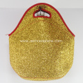 Insulated Neoprene Lunch Bags With Golden Sequins