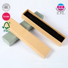 Long Simple Logo Printed Cardboard Custom Necklace Box Jewelry with Insert