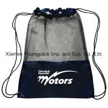 Promotional Custom Black Nylon Mesh Gym Sack Drawstring Shoe Bags
