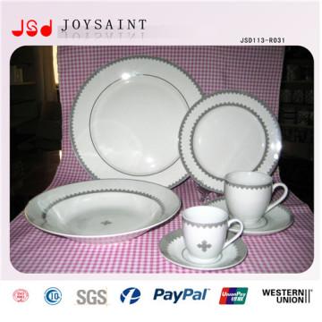 Einfaches Design Custom Logo Porzellan Geschirr Platte für den Heimgebrauch