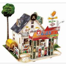 Brinquedos de brinquedo de madeira para casas globais-posto de gasolina americano