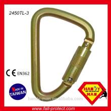 Taiwan Steel D Type Scaffolding Safety Hook / Carabiner Triple Lock