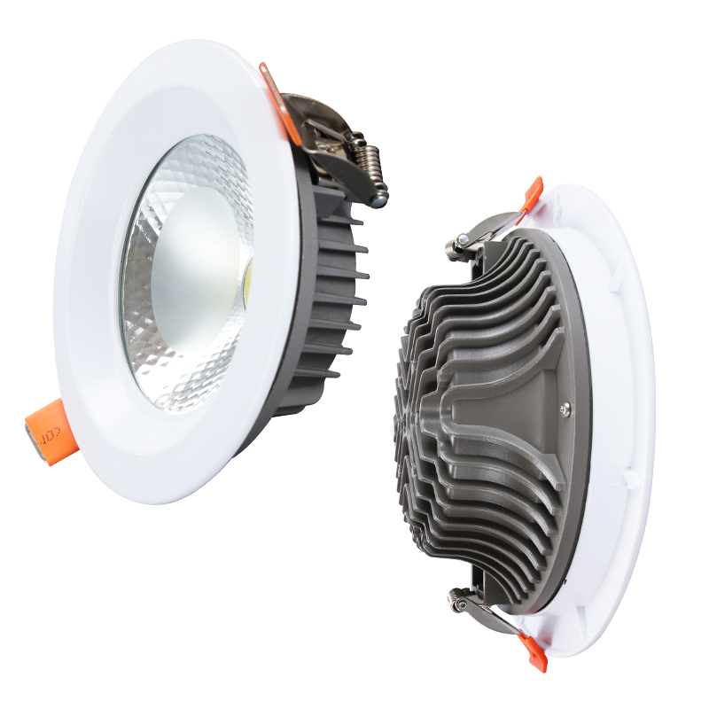 LED downlight installed in the ceiling