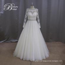 Vestidos de noiva manga longa a linha frisada Sash casamento vestido