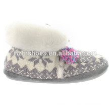 Mulheres indoor linda neve cinza cor tornozelo boot inverno dama laço mantenha quente sapatos interiores