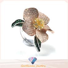 Anneau de bijoux en or en or élégant motif fleur 925 anneau de mariage en argent sterling (R10500)