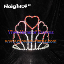 Red and Pink Crystal Heart Valentines Crowns