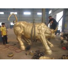 decorações do jardim tamanho de vida artesanato em metal fundido escultura de touro de bronze