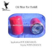 Filtro de óleo de empilhadeira para TCM & Toyota 20803-81071