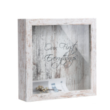 8*8 Hot sale High quality Custom distressed Top Slot Wine Cork Wooden Shadow Box or Tickets Shadow box for Collector Decoration