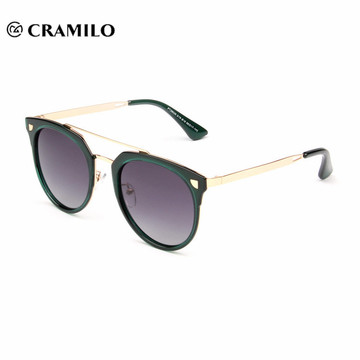 stock fashion metal frame round lens women polarized sunglasses