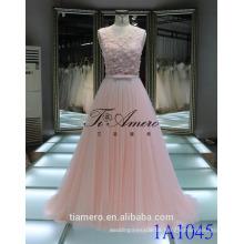 1A1045 verträumte helle rosafarbene gehäkelte Spitze-Schärpe 3D Blumen Appliqued Sleeveless Abend-Kleid-Abschlussball-Kleid-Brautjunfer-Kleid