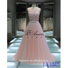 1A1045 Dreamy Light Pink Crocheted Lace Sash 3D Flores Appliqued Vestido de noiva sem mangas Prom Dress Vestido de dama de honra