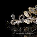 Wholesale factory accessory headpiece Shiny jewelry Fancy crown Wedding party Bride crystal tiara Golden rhinestone headband