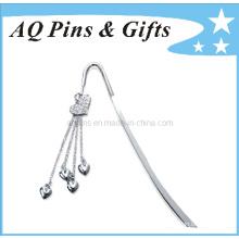 Metal Bookmark with Diamond in Nickel Plating