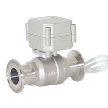 CE Sanitary Clamped Ball Valve Válvula de esfera sanitária do fluxo elétrico de 2 maneiras (T25-S2-AQ)