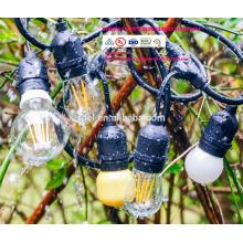 Luces para exteriores con 15 luces (3 bombillas S14 adicionales) y cable de extensión a juego con 13 pies - Commercial Weatherproof Patio St