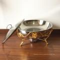 Aquecedor de alimento chapeado de aço inoxidável de 8L Buffte / potenciômetro quente que aquece o ouro de Rosa do prato