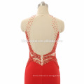 Wholesale high neck design women prom dress halter high split backless red puffy prom dress with heavy beading and small tail