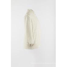 Pêlo branco falso calorosamente casaco exterior