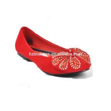 Mulher moda casual sapatos lisos com arco vermelho sapato bailarina sapato liso
