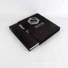 Custom black cloth hardcover book with carton box
