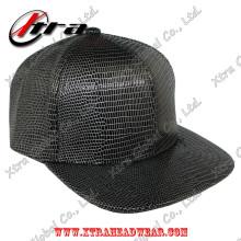 Black & White Lizard Leather Baseball Cap Allover Pattern
