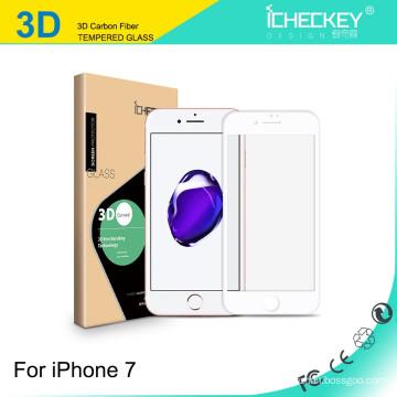 Screenguard de haute qualité pour iPhone 7/7 Plus HD GLASS / 2.5D sérigraphie de couverture complète / bord doux en fibre de carbone 3D / courbe en 3D