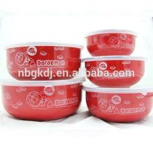 5 pcs um conjunto de fundo redondo tigela de esmalte vermelho da china