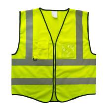 Chaleco de seguridad amarillo con cierre de cremallera de bolsillo con tarjeta de PVC