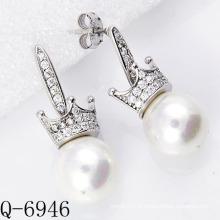 Derniers styles Boucles d'oreilles en perle 925 en argent (Q-6946)