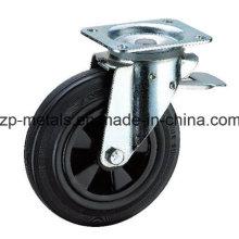 Rueda de la rueda de goma del caucho de la basura de 6 pulgadas con el freno