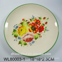 Flor y pájaros calcomanía cerámica placa redonda